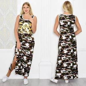 Платье длинное летнее без рукавов Т0944