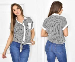 Рубашка в полоску с принтом Т5450