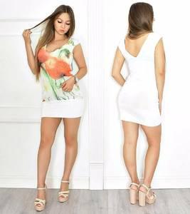 Платье короткое с принтом белое Т6556