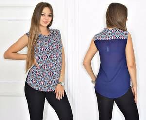 Рубашка синяя с принтом Т6559