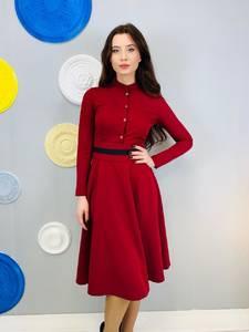 Платье короткое с длинным рукавом красное Х5337
