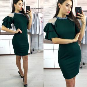 Платье короткое нарядное однотонное Х0479
