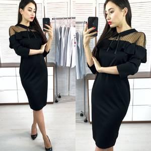 Платье короткое вечернее черное Х0481
