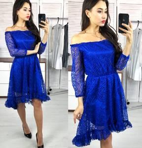 Платье короткое коктейльное с рукавом 3/4 Х0485