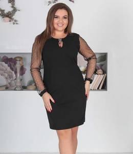Платье короткое вечернее черное Х0475
