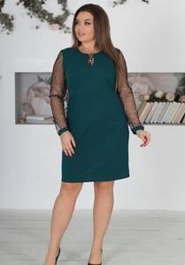Платье короткое вечернее зеленое Х0476