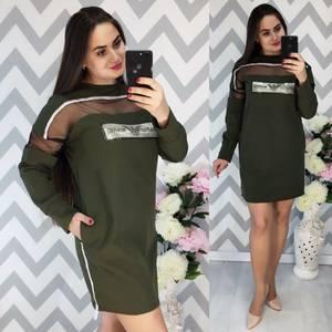 Платье короткое с длинным рукавом зеленое Х0505