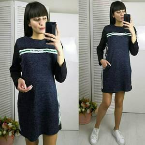 Платье короткое с длинным рукавом однотонное Х0506