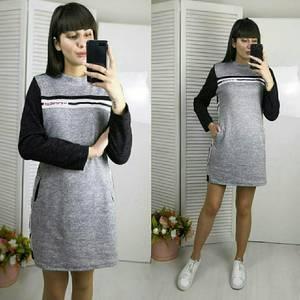 Платье короткое с длинным рукавом однотонное Х0507