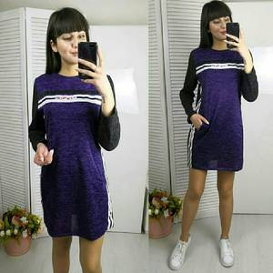 Платье короткое с длинным рукавом однотонное Х0508