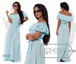 Платье длинное голубое нарядное Х6261