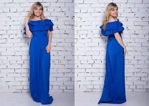 Платье длинное синее нарядное Х6259