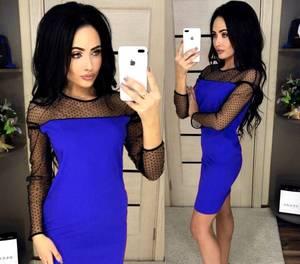 Платье короткое с длинным рукавом синее Х1017