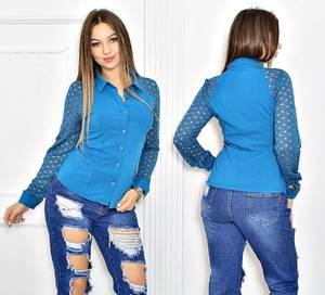 Рубашка синяя однотонная Т5523