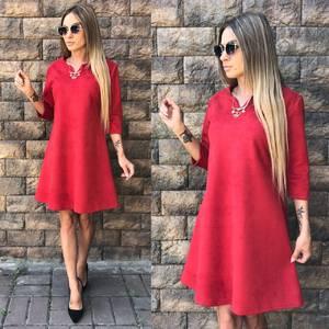 Платье короткое с рукавом 3/4 красное У0349