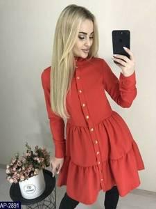 Платье короткое с длинным рукавом Я2536