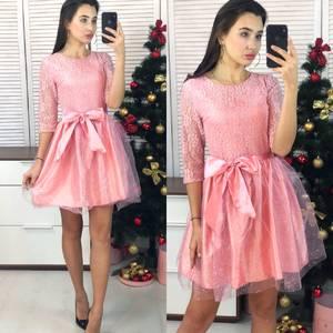 Платье короткое коктейльное с рукавом 3/4 Ф9063
