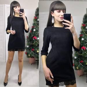 Платье короткое с рукавом 3/4 черное Х6003
