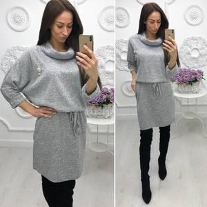 Платье короткое трикотажное однотонное Ф4651