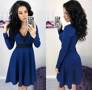 Платье короткое коктейльное с длинным рукавом Ф6325