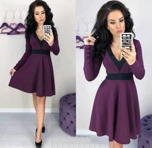 Платье короткое коктейльное с длинным рукавом Ф6327