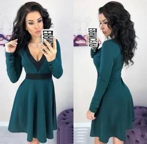 Платье короткое коктейльное с длинным рукавом Ф6328