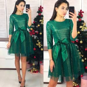 Платье короткое коктейльное с рукавом 3/4 Ф9067