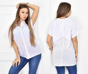 Рубашка в полоску с коротким рукавом Т5452