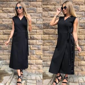 Платье длинное черное классическое У0806
