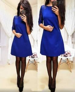 Платье короткое с рукавом 3/4 синее Ф1936