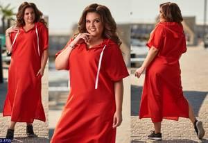 Платье длинное с коротким рукавом однотонное Т8632