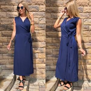 Платье длинное синее классическое У0809
