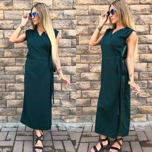 Платье длинное зеленое классическое У0810
