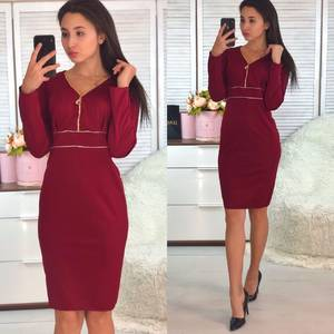 Платье короткое с длинным рукавом красное Ф9357
