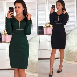 Платье короткое с длинным рукавом зеленое Ф9358