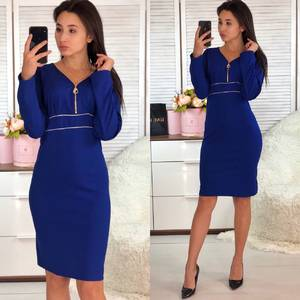 Платье короткое с длинным рукавом синее Ф9355
