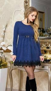 Платье короткое нарядное синее У9051