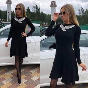 Платье короткое коктейльное черное Т8744