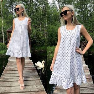 Платье короткое с принтом белое Т8776