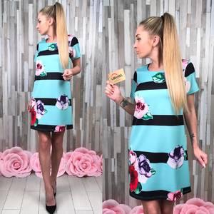 Платье короткое с принтом летнее Т8784