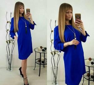 Платье короткое синее однотонное Т9864
