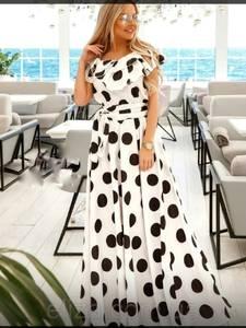 Платье длинное в горошек А39735