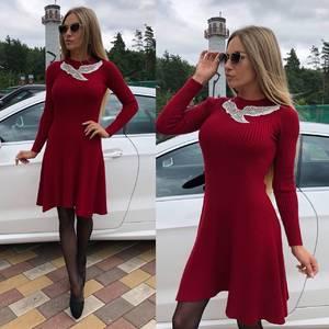 Платье короткое коктейльное красное Т8745