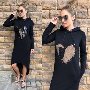 Платье длинное черное повседневное У0795