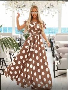 Платье длинное в горошек А39736