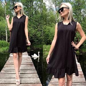 Платье короткое с принтом черное Т8779