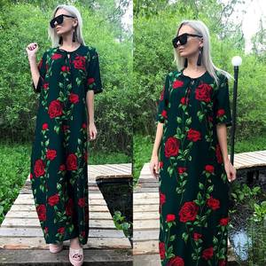 Платье длинное с принтом зеленое Т8782