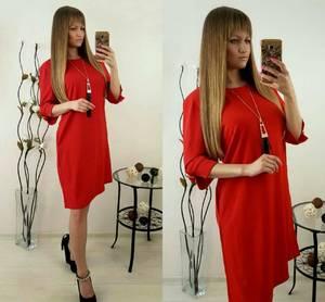 Платье короткое красное однотонное Т9863