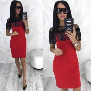 Платье короткое нарядное красное Х3374