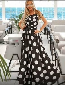 Платье длинное в горошек А39737